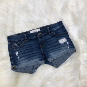 Hollister Dark Blue Distressed Booty Shorts 3 W26
